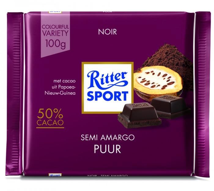 RITTER CHOCOLATE SEMIAMARGO PURO 100 GR