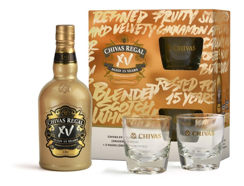 WHISKY CHIVAS 15 GOLD + 2 VASOS