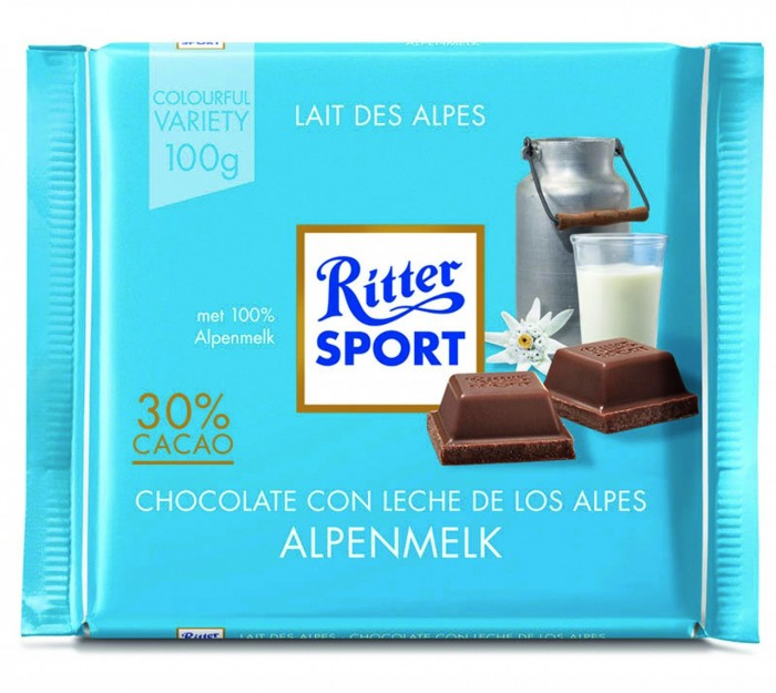 RITTER CHOCOLATE CON LECHE ALPES 100 GR